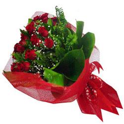 Bilecik çiçekçi kaliteli taze ve ucuz çiçekler  12 adet kirmizi essiz gül buketi - SEVENE ÖZEL