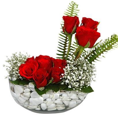 cam içerisinde 9 adet kirmizi gül  Bilecik çiçekçi çiçek siparişi vermek