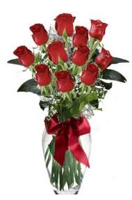 11 adet kirmizi gül vazo mika vazo içinde  Bilecik çiçekçi 14 şubat sevgililer günü çiçek