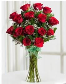 Cam vazo içerisinde 11 kırmızı gül vazosu  Bilecik çiçekçi anneler günü çiçek yolla