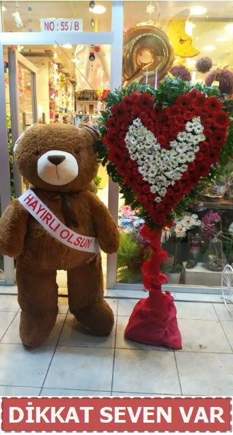 1.5 Metre peluş ayı ve Kalp  Bilecik çiçekçi çiçek gönderme sitemiz güvenlidir