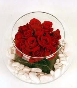 Cam fanusta 11 adet kırmızı gül  Bilecik çiçekçi çiçek gönderme