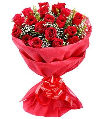 21 adet kırmızı gülden modern buket  Bilecik çiçekçi çiçek gönderme