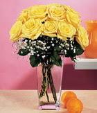 Bilecik çiçekçi internetten çiçek satışı  9 adet sari güllerden cam yada mika vazo