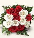 Bilecik çiçekçi çiçek , çiçekçi , çiçekçilik  10 adet kirmizi beyaz güller - anneler günü için ideal seçimdir -
