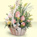 Bilecik çiçekçi 14 şubat sevgililer günü çiçek  sepette pembe güller