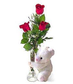 oyuncak ve 3 adet gül  Bilecik çiçekçi çiçek siparişi sitesi