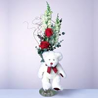 2 adet gül ve panda özel  Bilecik çiçekçi çiçekçi mağazası