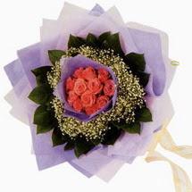 12 adet gül ve elyaflardan   Bilecik çiçekçi çiçekçi mağazası