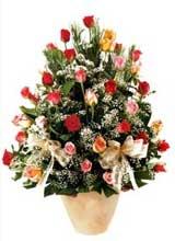 91 adet renkli gül aranjman   Bilecik çiçekçi çiçek gönderme sitemiz güvenlidir