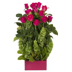 12 adet kirmizi gül aranjmani  Bilecik çiçekçi çiçek mağazası , çiçekçi adresleri