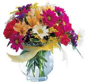 Bilecik çiçekçi internetten çiçek satışı  cam yada mika içerisinde karisik mevsim çiçekleri