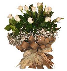 Bilecik çiçekçi çiçekçi telefonları  9 adet beyaz gül buketi