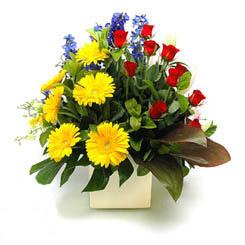 Bilecik çiçekçi online çiçek gönderme sipariş  9 adet gül ve kir çiçekleri cam yada mika vazoda