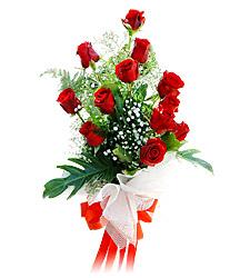 11 adet kirmizi güllerden görsel sölen buket  Bilecik çiçekçi çiçek siparişi vermek