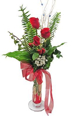 Çiçek gönderin cam vazoda 3 gül çiçekleri  Bilecik çiçekçi çiçek siparişi sitesi