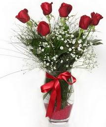 7 adet gülden cam içerisinde güller  Bilecik çiçekçi 14 şubat sevgililer günü çiçek