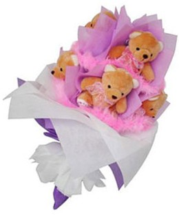9 adet ayiciktan buket  Bilecik çiçekçi hediye sevgilime hediye çiçek