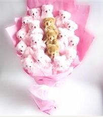 17 adet pelus ayicik buketi  Bilecik çiçekçi İnternetten çiçek siparişi