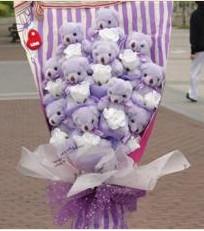 11 adet pelus ayicik buketi  Bilecik çiçekçi çiçek gönderme sitemiz güvenlidir