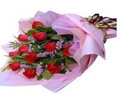 11 adet kirmizi güllerden görsel buket  Bilecik çiçekçi çiçek gönderme sitemiz güvenlidir