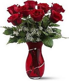 Vazo içinde 8 adet kirmizilar içinde güller  Bilecik çiçekçi internetten çiçek siparişi