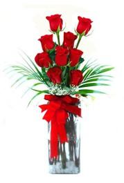 Bilecik çiçekçi çiçekçi telefonları  9 adet mika yada cam vazoda gül tanzimi