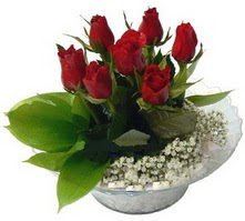 Bilecik çiçekçi internetten çiçek satışı  cam yada mika içerisinde 5 adet kirmizi gül