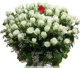 Bilecik çiçekçi internetten çiçek satışı  100 adet beyaz 1 adet kirmizi gül buketi