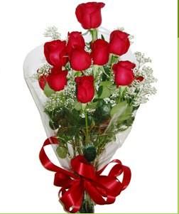 Bilecik çiçekçi uluslararası çiçek gönderme  10 adet kırmızı gülden görsel buket