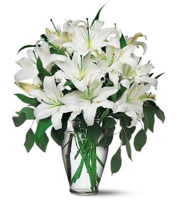 Bilecik çiçekçi internetten çiçek satışı  4 dal kazablanka ile görsel vazo tanzimi