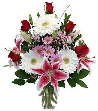 Bilecik çiçekçi çiçek mağazası , çiçekçi adresleri  1 dal kazablanka 5 gül ve kırçiçeği vazosu