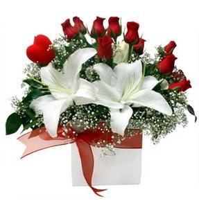 Bilecik çiçekçi çiçekçi mağazası  1 dal kazablanka 11 adet kırmızı gül vazosu