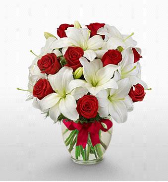 Bilecik çiçekçi hediye çiçek yolla  1 dal kazablanka 11 adet kırmızı gül vazosu