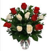 Vazo içerisinde 6 kırmızı 6 beyaz gül  Bilecik çiçekçi hediye çiçek yolla