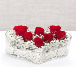 kalp içerisinde 7 adet kırmızı gül  Bilecik çiçekçi çiçek siparişi vermek