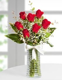 Cam vazoda 7 adet kırmızı gül  Bilecik çiçekçi çiçek , çiçekçi , çiçekçilik