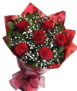 6 adet kırmızı gülden buket  Bilecik çiçekçi yurtiçi ve yurtdışı çiçek siparişi