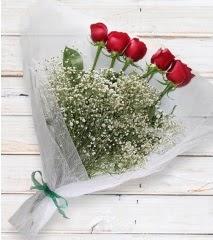 5 kırmızı gülden sade buket  Bilecik çiçekçi çiçek yolla