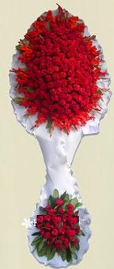 Çift katlı kıpkırmızı düğün açılış çiçeği  Bilecik çiçekçi anneler günü çiçek yolla