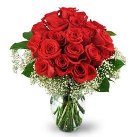 25 adet kırmızı gül cam vazoda  Bilecik çiçekçi çiçek , çiçekçi , çiçekçilik