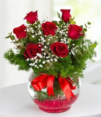 fanus Vazoda 7 Gül  Bilecik çiçekçi çiçek , çiçekçi , çiçekçilik
