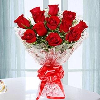 11 adet kırmızı gülden görsel şık buket  Bilecik çiçekçi ucuz çiçek gönder