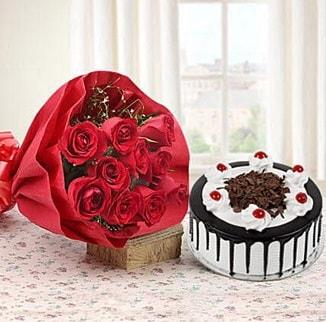 12 adet kırmızı gül 4 kişilik yaş pasta  Bilecik çiçekçi çiçek , çiçekçi , çiçekçilik
