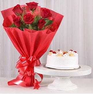6 Kırmızı gül ve 4 kişilik yaş pasta  Bilecik çiçekçi çiçek , çiçekçi , çiçekçilik