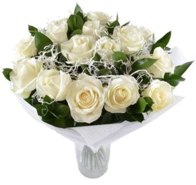 15 beyaz gül buketi sade aşk  Bilecik çiçekçi çiçek satışı