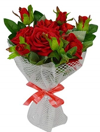 9 adet kırmızı gülden sade şık buket  Bilecik çiçekçi çiçekçi telefonları