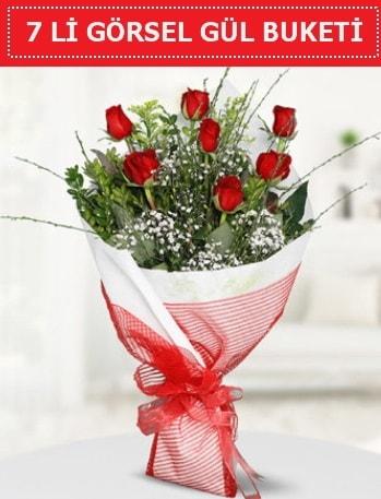 7 adet kırmızı gül buketi Aşk budur  Bilecik çiçekçi çiçek satışı
