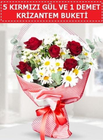 5 adet kırmızı gül ve krizantem buketi  Bilecik çiçekçi çiçek satışı