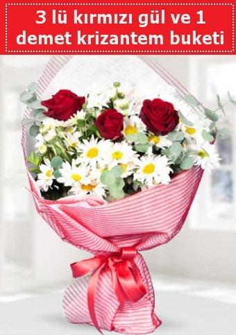 3 adet kırmızı gül ve krizantem buketi  Bilecik çiçekçi çiçek gönderme sitemiz güvenlidir